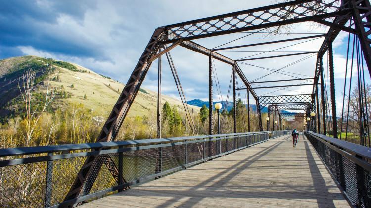 Pedestrian bridge over Clark Fork River, hundreds of miles of biking and hiking trails.