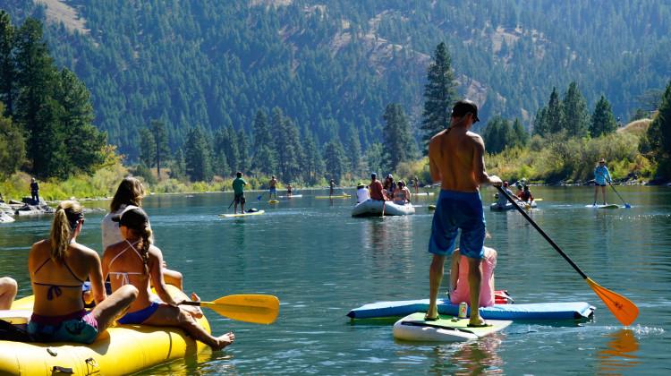 Floating through Missoula on the Clark Fork River
